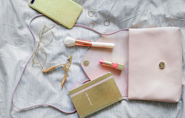 Photo wallpaper lipstick, glasses, Notepad, brush, phone, bag