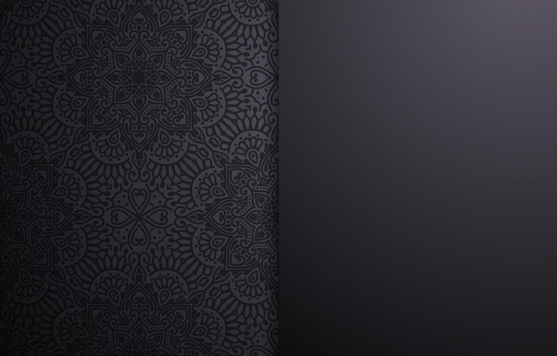 Photo wallpaper pattern, texture, black background, ornament, design, background