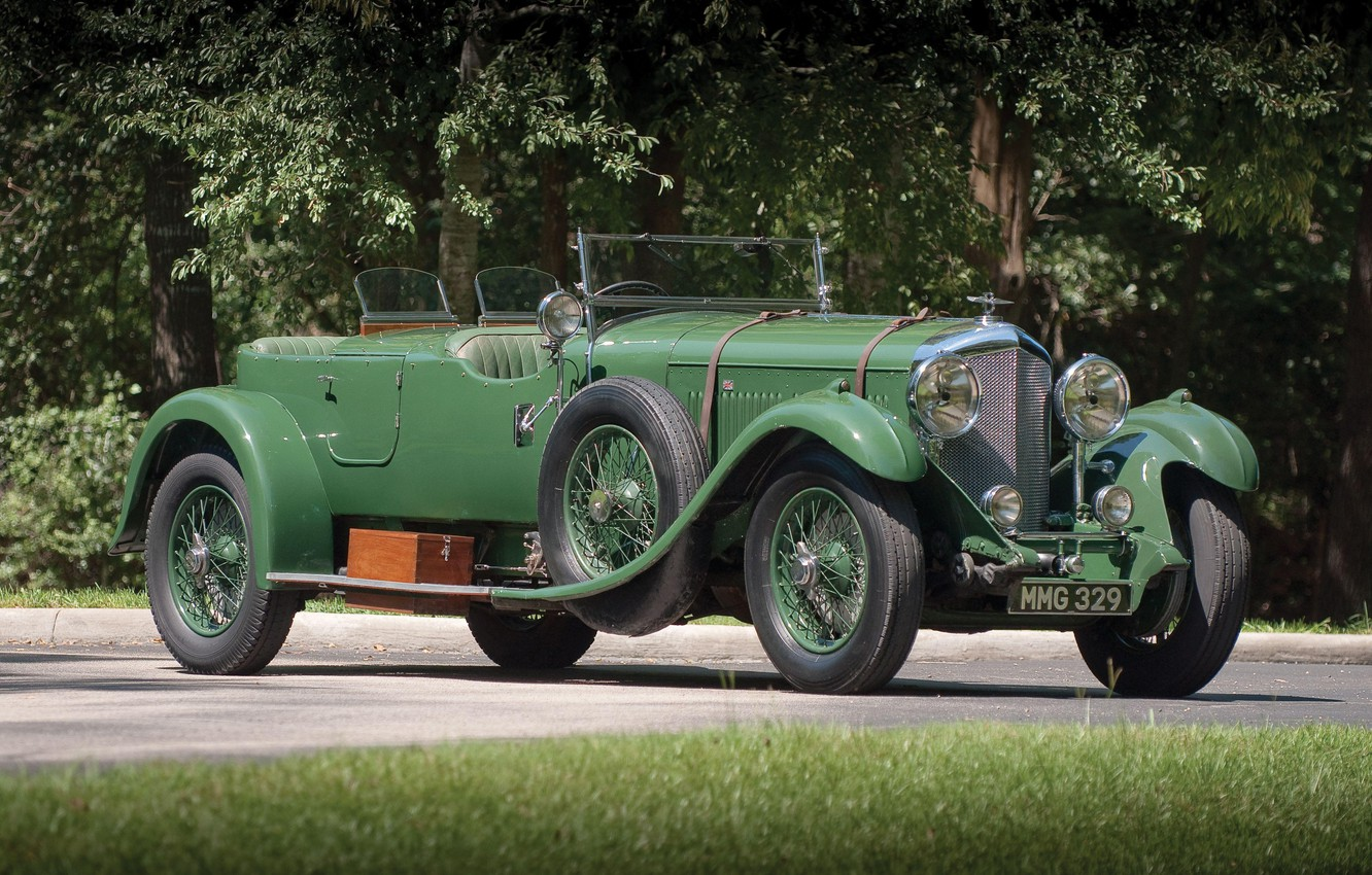 Photo wallpaper Green, Retro, British Car, 1931 Bentley 4 14