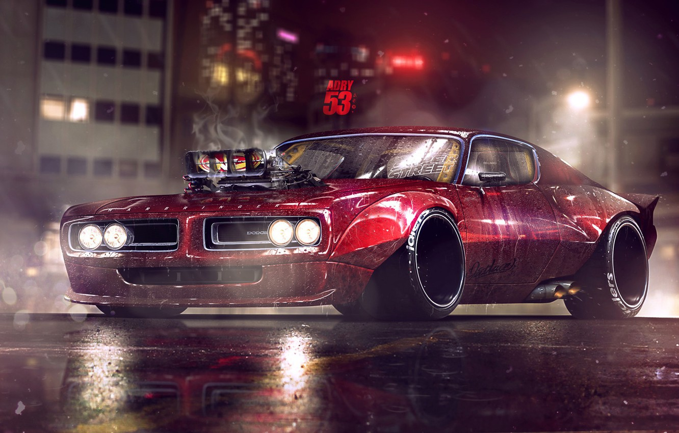 Photo wallpaper Red, Auto, Night, Machine, Light, 1971, Dodge, Lights, Car, Art, Charger, Dodge Charger, Rendering, by …