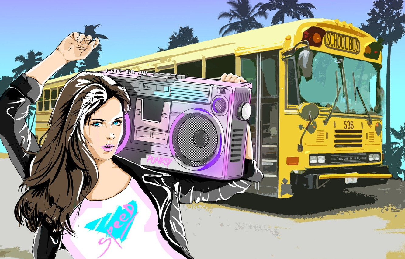 Wallpaper Girl, Music, Background, Bus, 80s, Tape ...