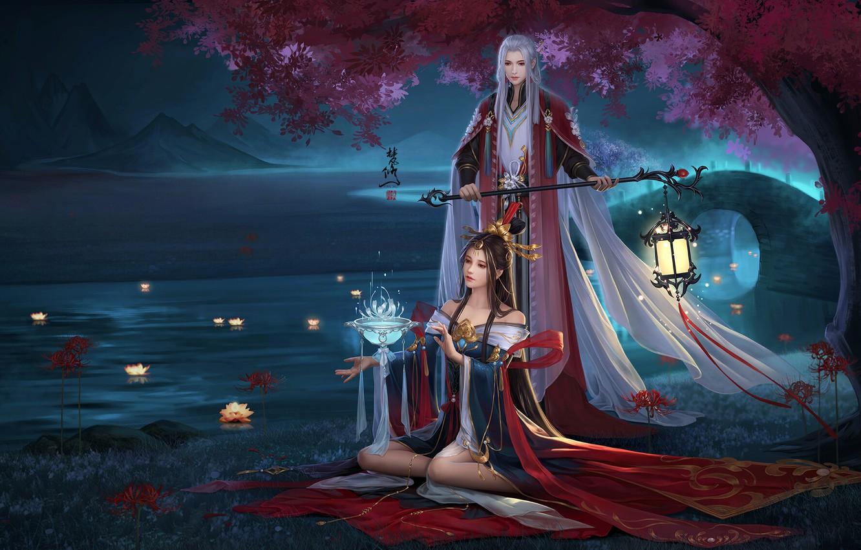 Photo wallpaper Girl, Fantasy, Art, Asian, Tree, Style, Night, River, Asia, Man, Lamp, Dress, Fan xiu