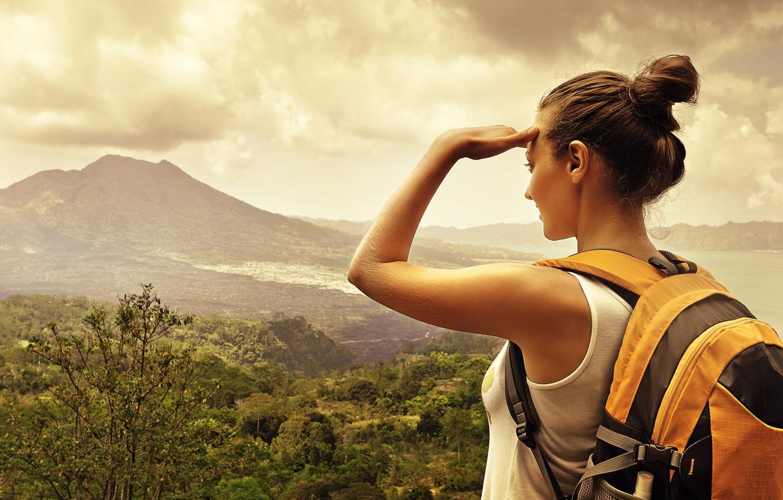 Photo wallpaper forest, woman, backpack, trekking