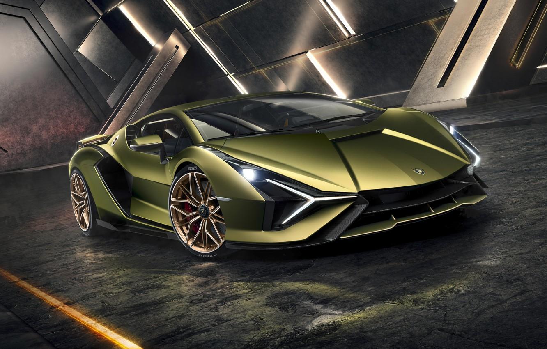 Photo wallpaper machine, light, lights, Lamborghini, supercar, drives, hybrid, Later
