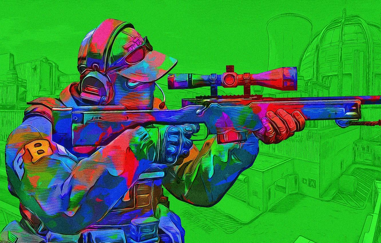 Photo wallpaper green, toxic, 'CS:GO'