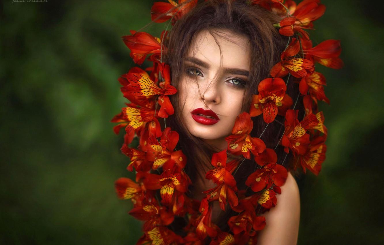 Photo wallpaper look, girl, flowers, face, background, portrait, Ilona Bimova, Victoria Mayaki