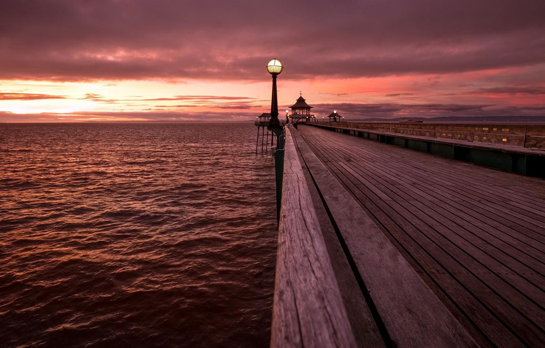 Photo wallpaper the sky, sunset, Clevedon Pier