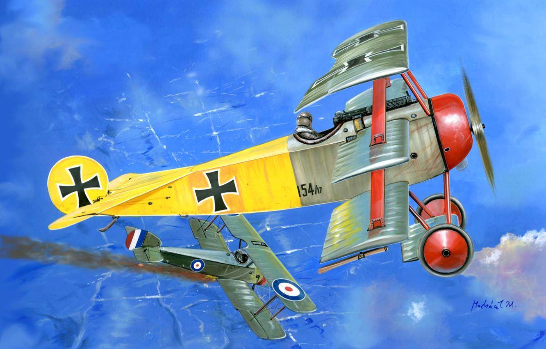 Photo wallpaper Biplane, Triplane, The first World war, Combat aircraft, Fokker DR.1