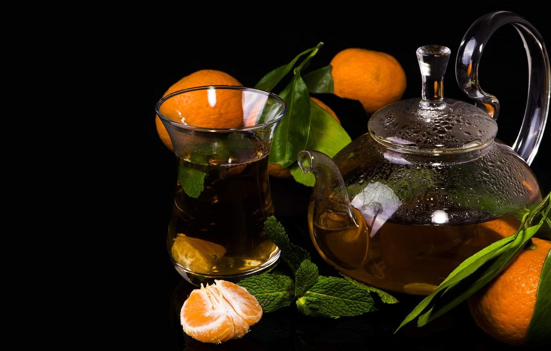 Photo wallpaper tea, kettle, black background, tangerines