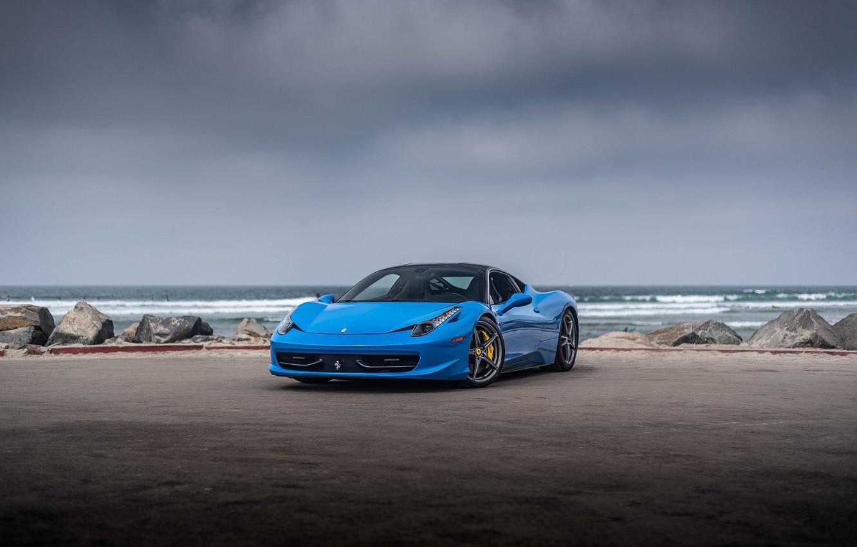 Photo wallpaper Ferrari, 458, Blue