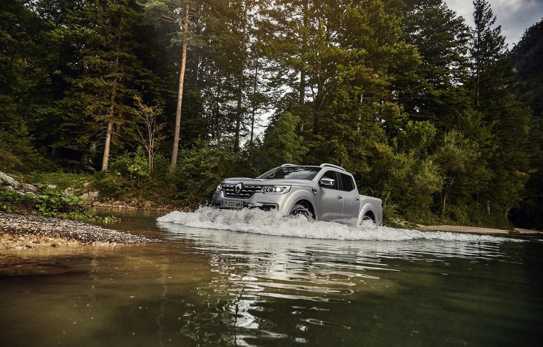 Photo wallpaper trees, shore, wave, Renault, pickup, 4x4, 2017, Alaskan, gray-silver