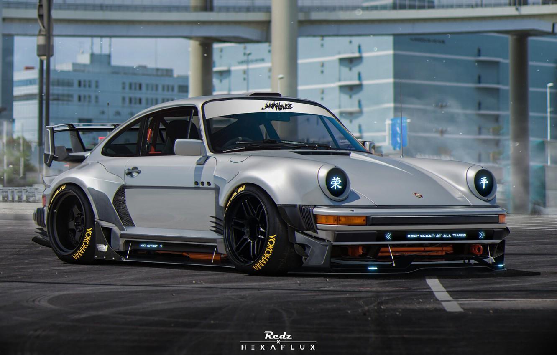 Photo wallpaper Porsche, Machine, Tuning, Grey, Car, Render, Rendering, Sports car, Grey, Porsche 930, Transport & Vehicles, …