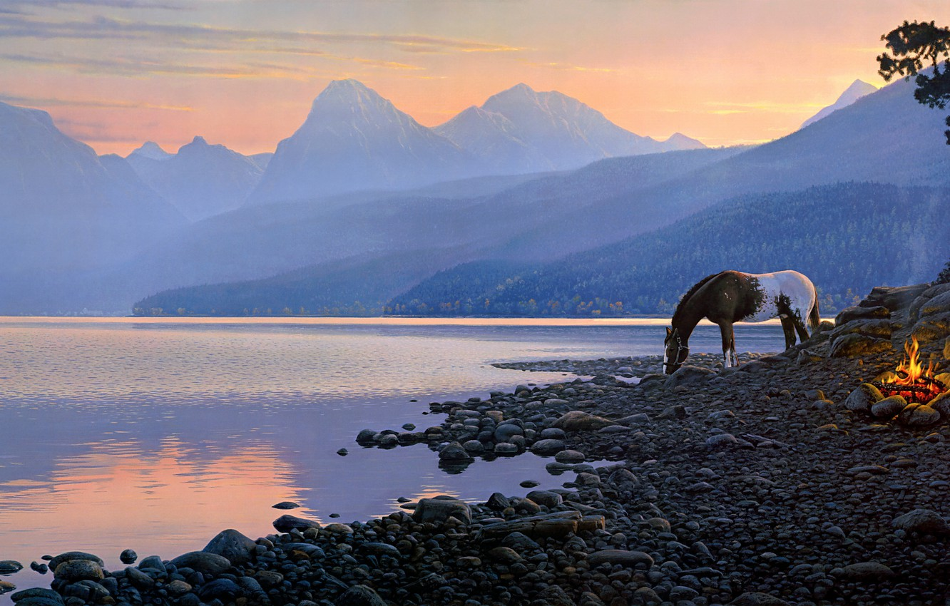 Photo wallpaper forest, sunset, mountains, nature, fog, pebbles, lake, fire, horse, dawn, shore, horse, figure, tops, graphics, …
