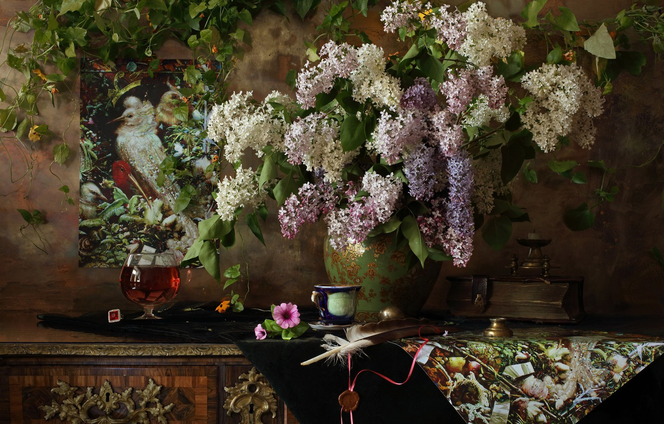 Photo wallpaper style, pen, bouquet, pictures, book, still life, lilac, ivy