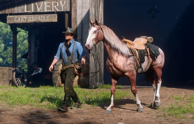 Photo wallpaper horse, hat, Rockstar, Bandit, Red Dead Redemption 2, Knysna