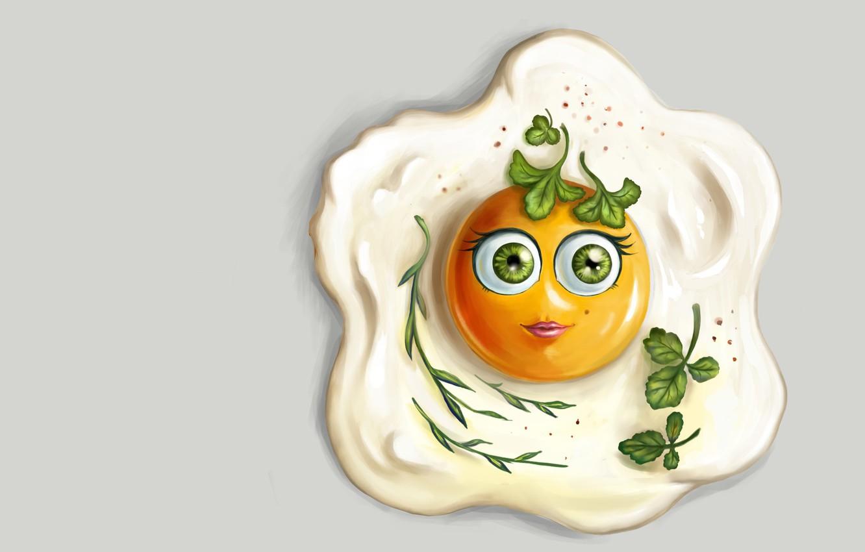 Photo wallpaper food, art, scrambled eggs, eggs, children's, Anastasia Kulikovskaya, Pretty Lady Omlette