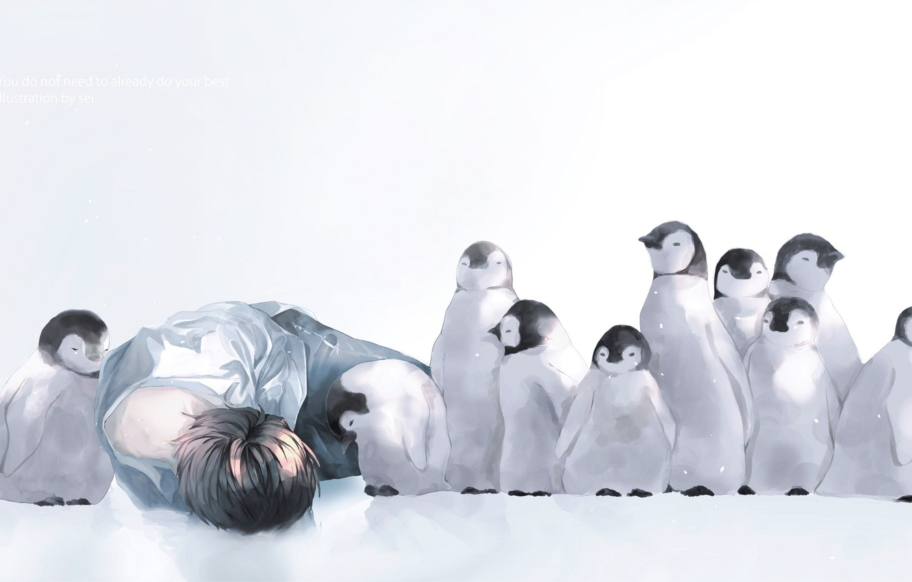 Photo wallpaper snow, penguins, guy, Chicks, by 世