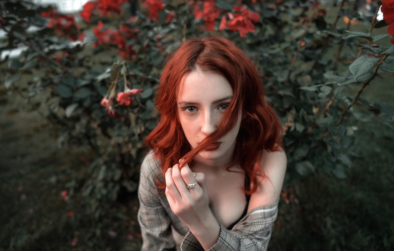 Photo wallpaper freckles, red, Sergey Kuzichev, Pauline Mar'yanovskaya