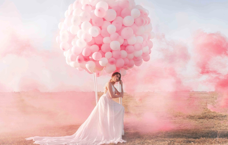 Photo wallpaper the sky, girl, balloons, smoke, paint, Jovana Rikala