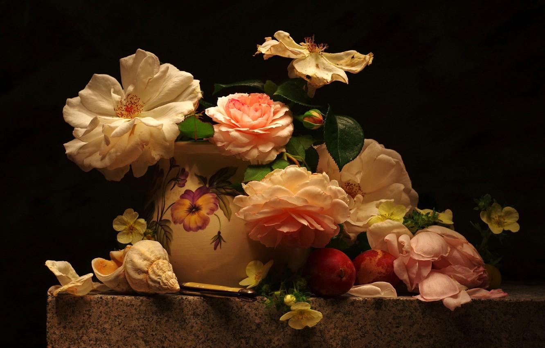 Photo wallpaper flowers, table, roses, petals, shell, vase, black background, still life, plum