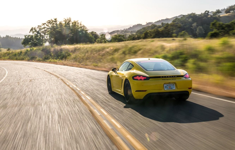 Photo wallpaper speed, Porsche, Cayman, rear view, GTS, 718, 2019