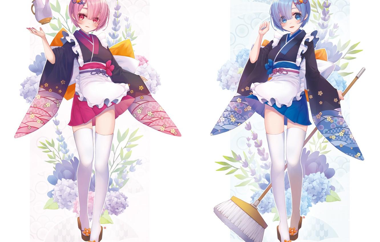 Photo wallpaper girls, From scratch, REM, RAM, Re Zero Kara Hajime Chip Isek Or Seikatsu