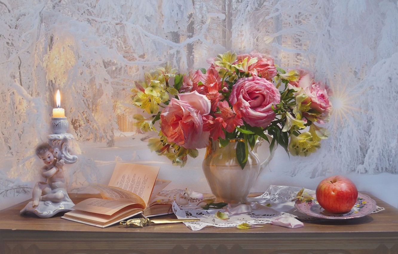 Photo wallpaper flowers, style, Apple, roses, bouquet, book, still life, candle holder, Alstroemeria, Valentina Fencing