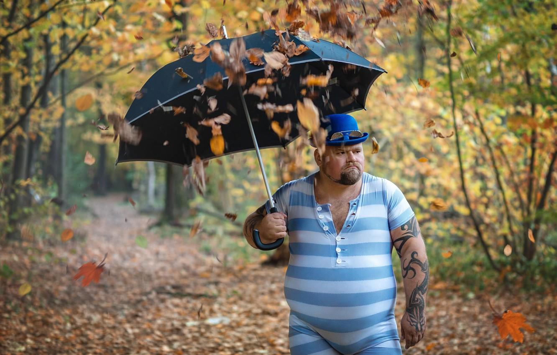 Photo wallpaper autumn, leaves, umbrella, tattoo, male, falling leaves, fat, tights, Timothy Trefilov