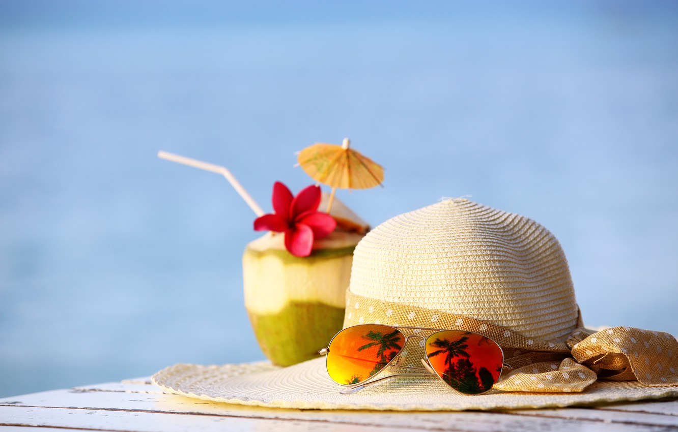 Photo wallpaper beach, summer, stay, coconut, hat, glasses, cocktail, summer, beach, vacation, drink, coconut, vacation, tropical, sunglasses