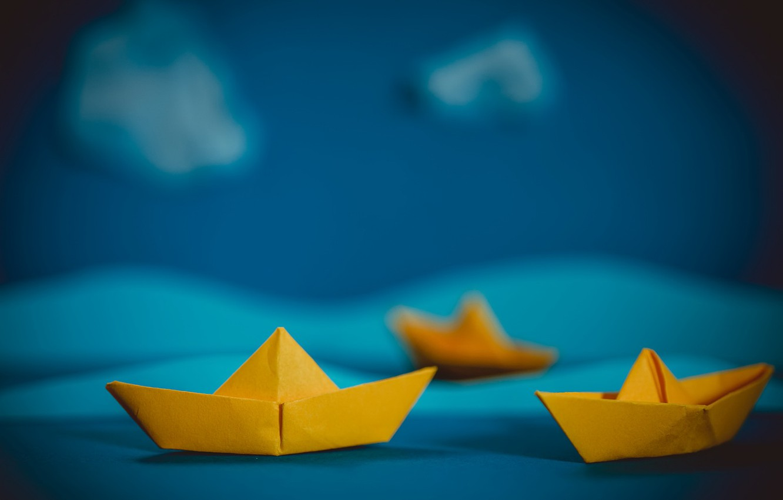 Photo wallpaper sea, origami, boats