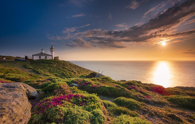 Photo wallpaper coast, lighthouse, Spain, Galicia, La Coruna, Costa da morte