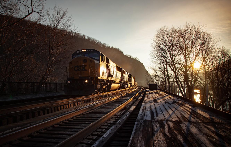 Photo wallpaper night, train, railroad