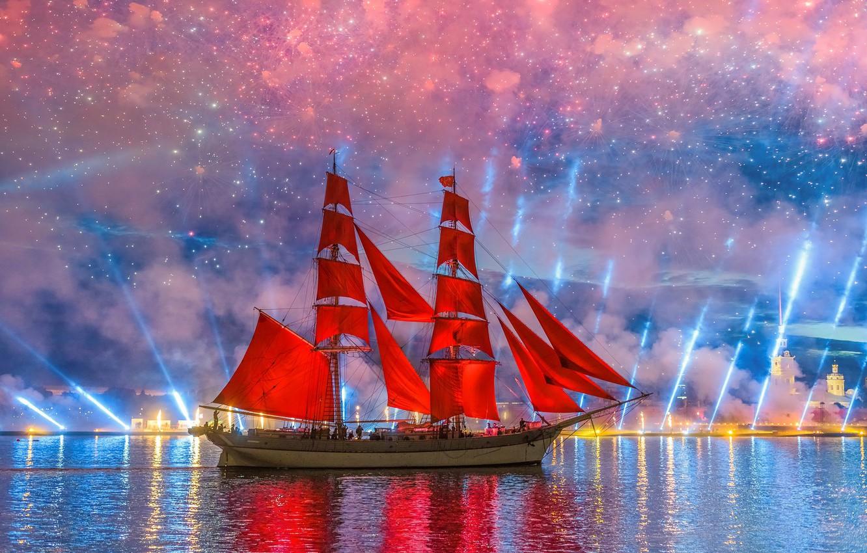 Photo wallpaper river, holiday, ship, salute, Peter, Saint Petersburg, Neva, Scarlet sails, Krylov Sergey, Сергей Крылов