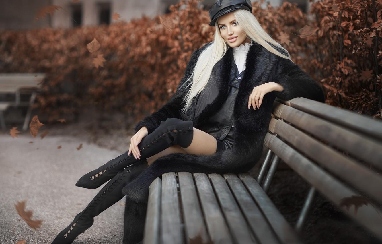 Photo wallpaper autumn, look, girl, pose, Park, hair, figure, coat, beauty, Javier Ullastres