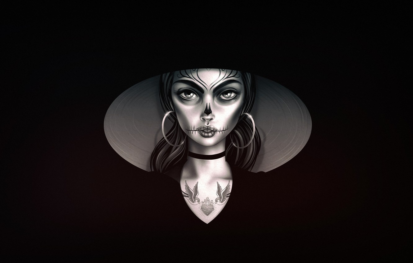 Wallpaper Girl Minimalism Style Background Calavera Day Of
