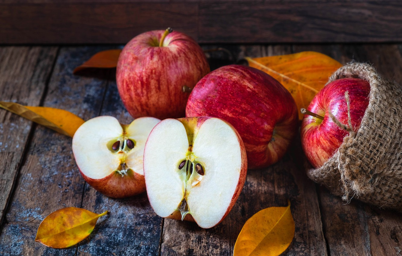 Photo wallpaper autumn, leaves, apples, wood, autumn, leaves, fruits, autumn, apples