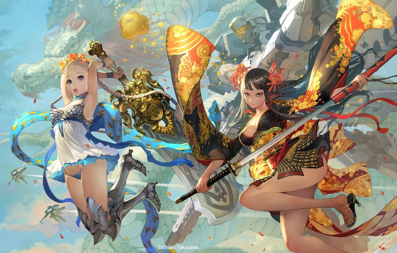 Photo wallpaper sword, fantasy, weapon, girls, anime, blue eyes, katana, dragon, mech, digital art, artwork, fantasy art, …