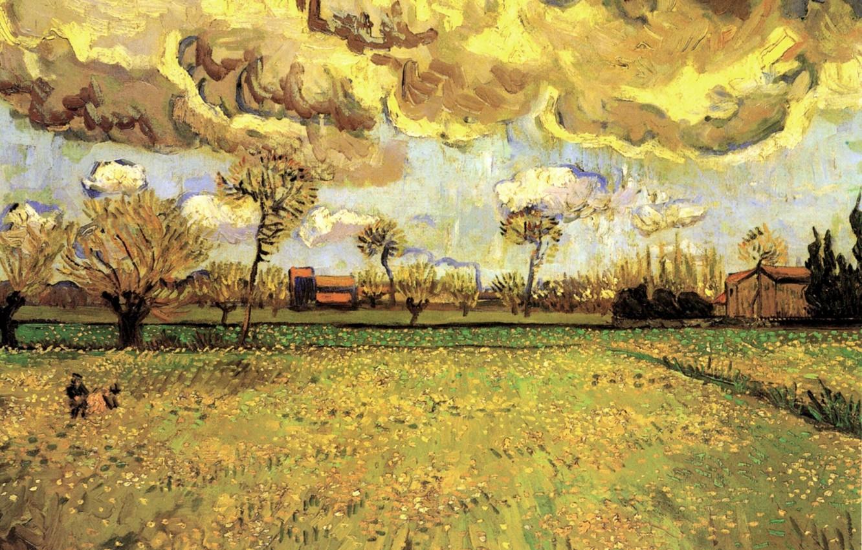 Photo wallpaper Vincent van Gogh, a Stormy Sky, Landscape Under