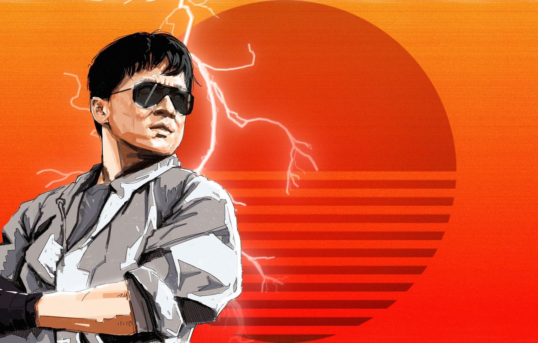Wallpaper Art 80s Retro Jackie Chan Synth Retrowave
