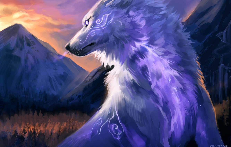 Photo wallpaper nature, wolf, fantasy, by Kipine