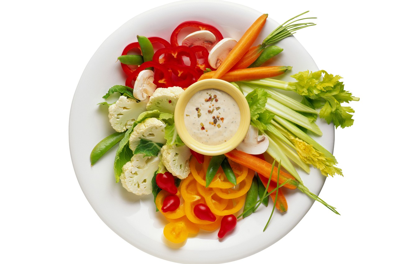 Photo wallpaper background, plate, vegetables