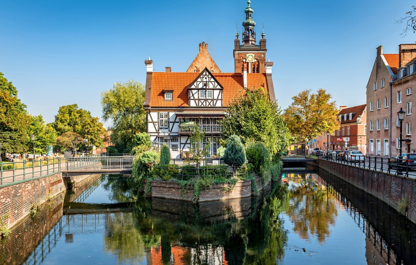 Photo wallpaper trees, house, Poland, channel, island, Poland, Old Town, Gdansk, Old town, Gdansk, embankments, Miller's House, …