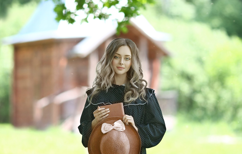 Photo wallpaper summer, girl, nature, hat, dress, book, curls, Rus, Irina Golubyatnikova