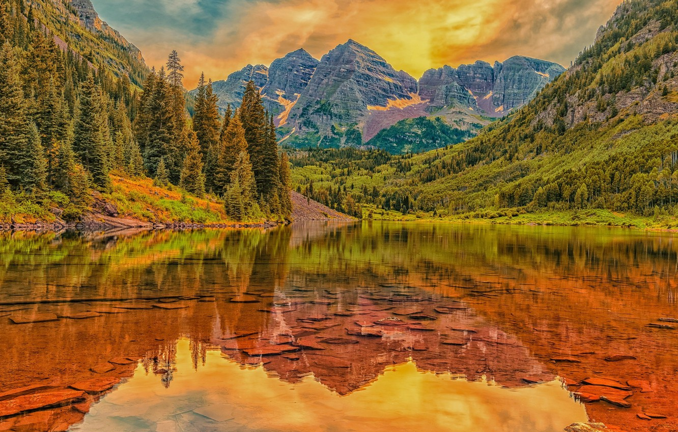 Photo wallpaper landscape, mountains, lake, beauty, red