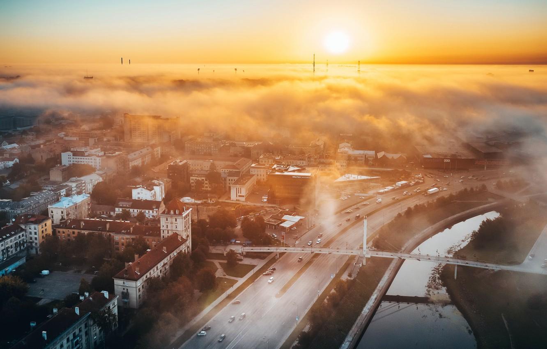 Photo wallpaper Lithuania, Kaunas, Autumn fog