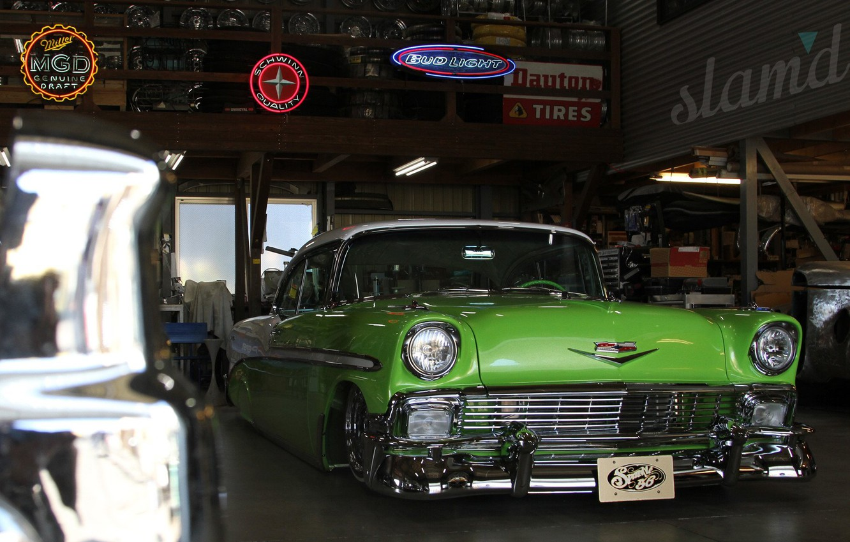 Photo wallpaper Chevrolet, Green, Bel Air, 1956 Year