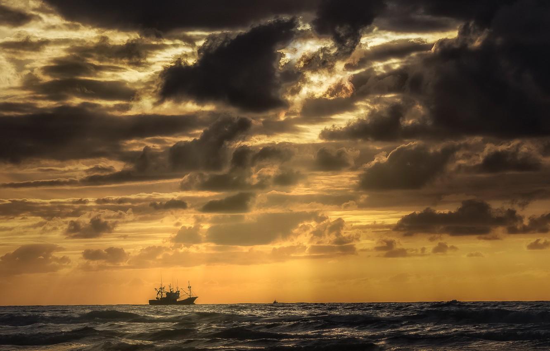 Photo wallpaper sea, storm, ship