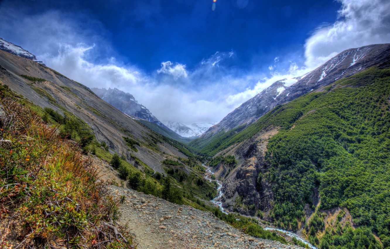 Photo wallpaper the sky, clouds, trees, mountains, stream, stones, gorge, the bushes, the view from the top, …