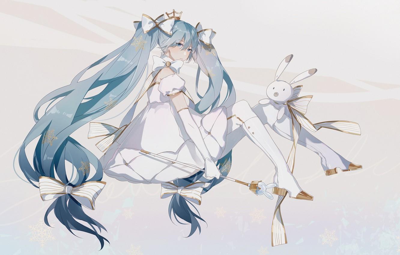 Photo wallpaper girl, bows, Bunny, Hatsune Miku, Vocaloid, Vocaloid, Hatsune Miku