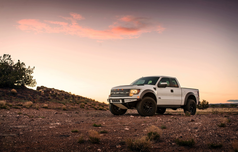 Photo wallpaper Ford, Raptor, Sunset, White